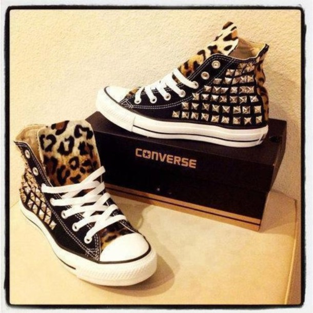 shoes converse sneakers leopard print pattern pattern studs studded black animal print silver print leopard print tongue dope high tops leopard print