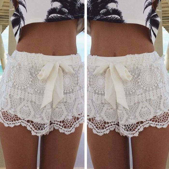 1PC Women Girl Lace Hem Crochet Chiffon Belt Summer Beach Shorts Pants Cuddly