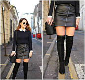the little magpie,blogger,shoulder bag,blue sweater,leather skirt,zipped skirt,knee high boots,suede boots,sunglasses,fall outfits