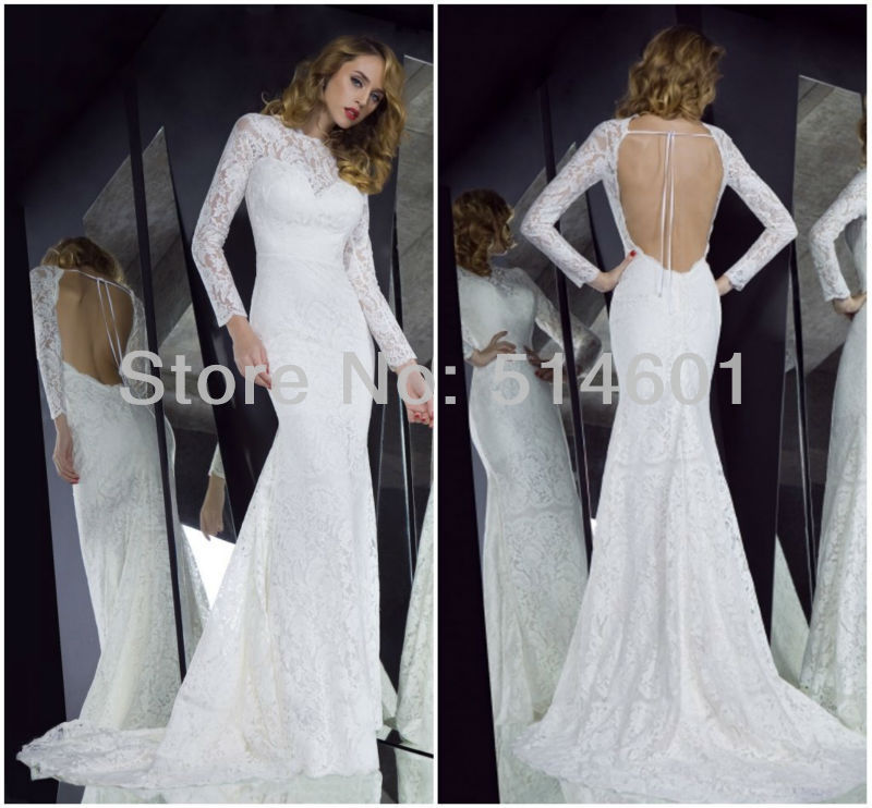 Sexy Open Back Lace Evening Dress with Long Sleeve White Color ...