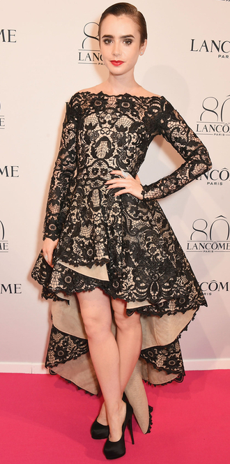 dress gown high-low dresses asymmetrical lily collins prom dress lace dress