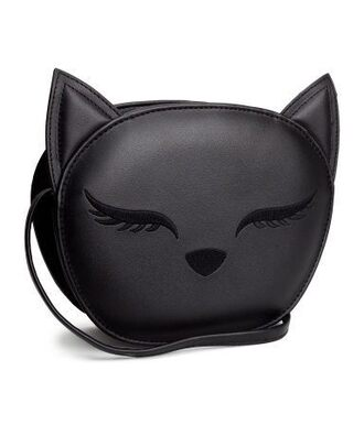 bag cats kitty h&m wallet black cute purse handbag