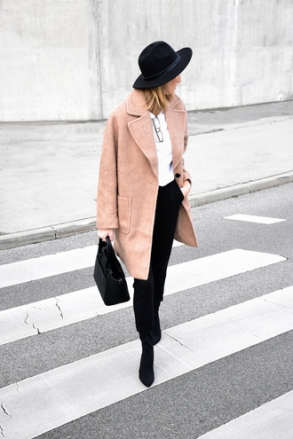 katarina vidic katiquette. street style blogger coat shirt pants shoes hat bag nude coat felt hat handbag black bag boots winter work outfit tumblr camel camel coat top white top glasses black pants classy work outfits office outfits