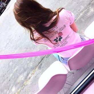 t-shirt yeah bunny pink rose