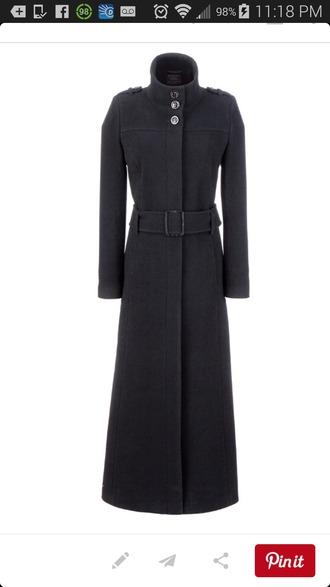 trench coat wool goth industrial belted coat black coat military coat