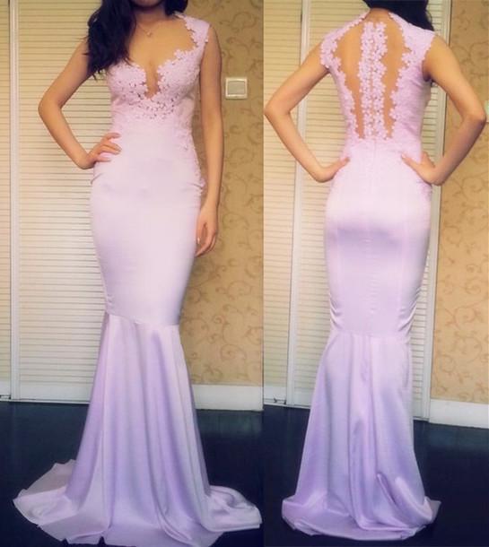 Dress Lavender Dress Sleeveless Dress Mermaid Prom Dress Mermaid
