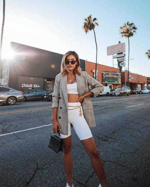 sports shorts belt blazer mini bag top sunglasses chain necklace