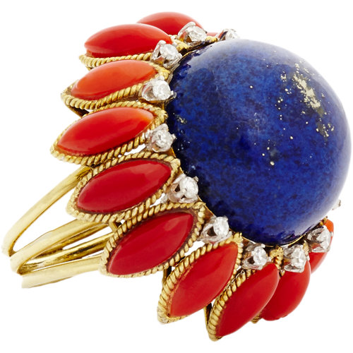 Mahnaz Ispahani Vintage Diamond, Lapis, Coral & Gold Flower Ring at Barneys.com