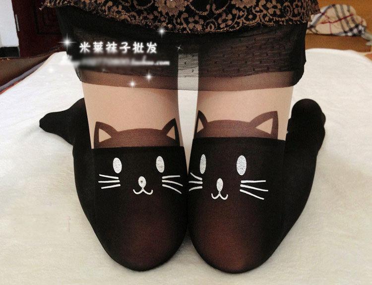 Hot sale black cat tattoo socks sheer pantyhose mock stockings tights leggings