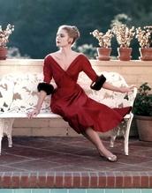 dress,grace kelly,red dress,midi dress,v neck dress,flat sandals,sandals,gold sandals,Gold low heel sandals,retro,retro dress