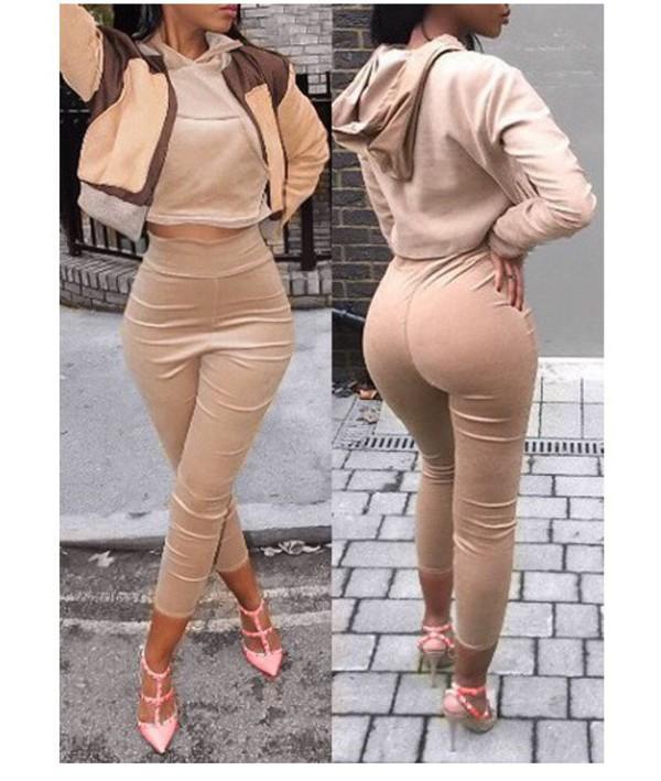 Wholesale Stylish Long Sleeve Hooded Hoodie Elastic Wait Capri ...