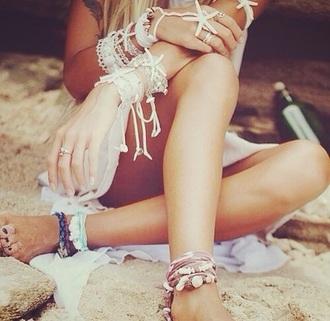 jewels anklet bracelets shells beach cute