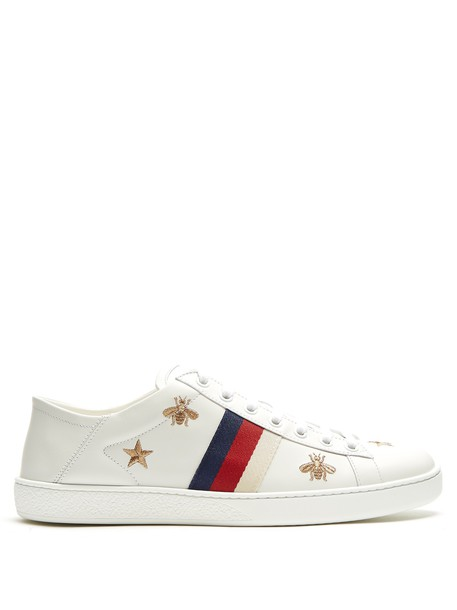 gucci top embroidered new leather white