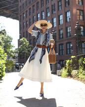 scarf,multicolor,belt,ballet flats,midi skirt,white skirt,short sleeve,denim shirt,heart sunglasses,basket bag,handbag,straw hat