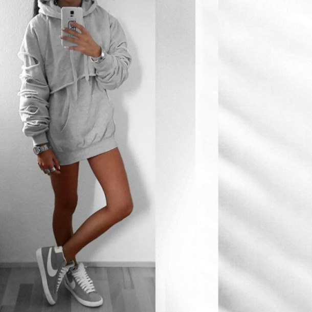 Sweater: clothes, grey, hoodie, oversized, sweater dress, nike ...