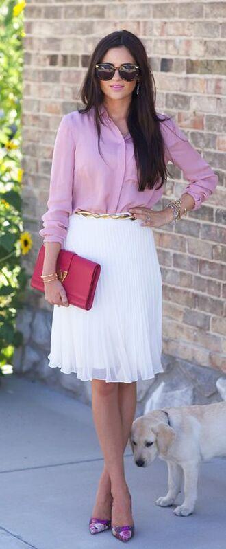 skirt baby pink shirt sunglasses white pleated skirt fucsia bag purple heels blogger