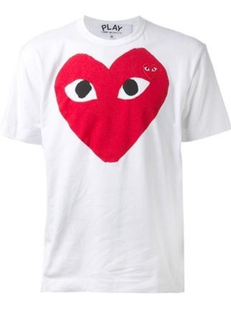 t-shirt red white play heart comme des garcons