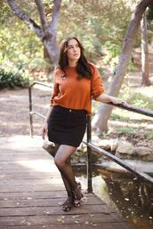 southerncaliforniabelle,blogger,sweater,skirt,shoes,tights,orange sweater,fall outfits,black skirt