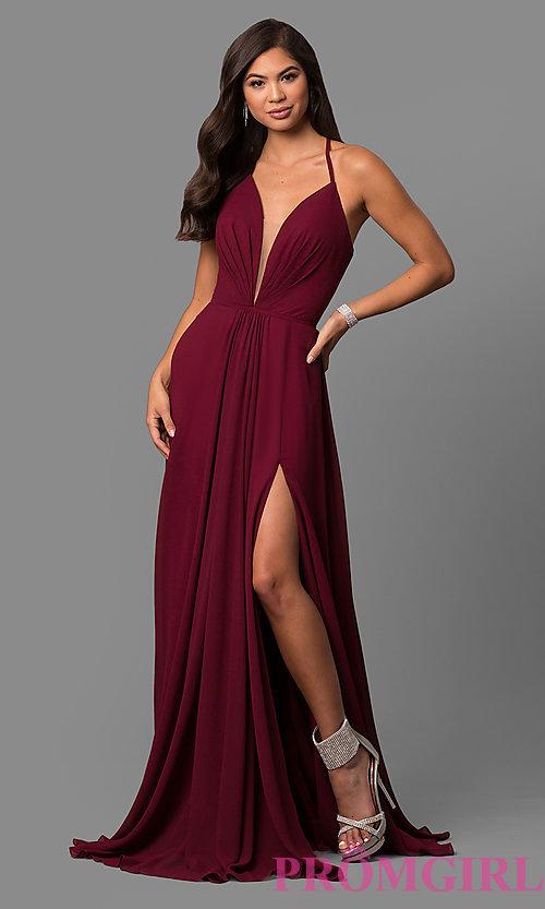 Faviana Low V-Neck Corset Back Prom Dress
