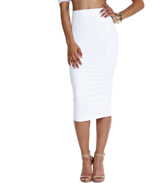 aed4cee48 White Faux Suede Pencil Skirt