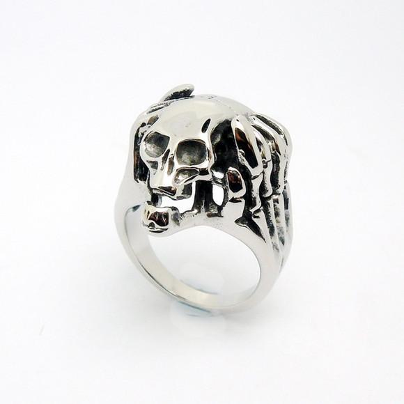 skull jewels menswear punk skull ring titanium steel men and women retro single ring men and women rings