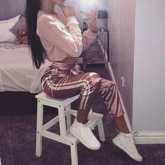 pants pink satin white stripes