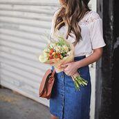 skirt,blue skirt,red mini skirt,tumblr,denim skirt,mini skirt,top,white top,white lace top,lace top,flowers,bag,brown bag