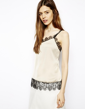 ASOS | ASOS Satin Cami with Lace Trim Panels at ASOS