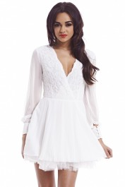 Lace Long Sleeve  Skater Dress - AX Paris