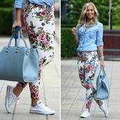 jeans,bag,floral,denim jacket,floral jeans,top,multicolor,green,sun,classy,hot,shoes,blue shirt,white converse,blue bag,blouse,floraljeans,flowers jeans blue withe,style,pants,flowers,summer,white,jumpsuit,hat