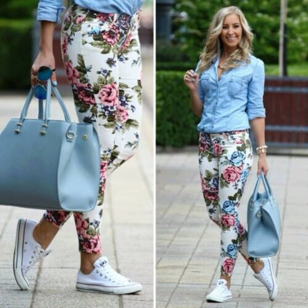 jeans bag floral denim jacket floral jeans top blue shirt white converse blue bag blouse shoes floral floraljeans flowers jeans blue withe style pants flowers summer white jumpsuit hat