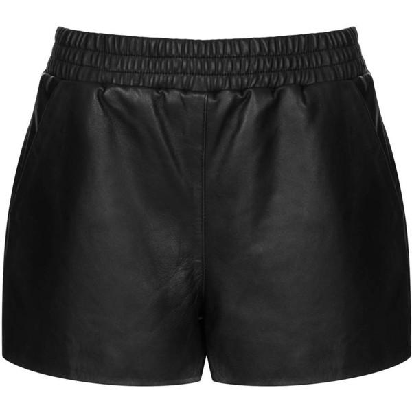 TOPSHOP Black Leather Runner Shorts - Polyvore