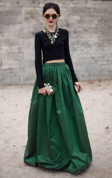 Skirt Green Skirt Emerald Skirt Forest Green Classy Maxi Skirt Brands Full Length Shirt