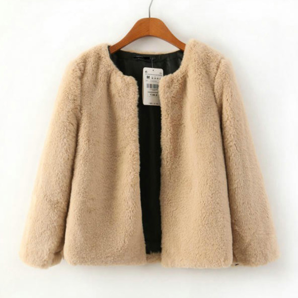 fur jacket faux fur beige khaki crop coat three-quarter sleeves