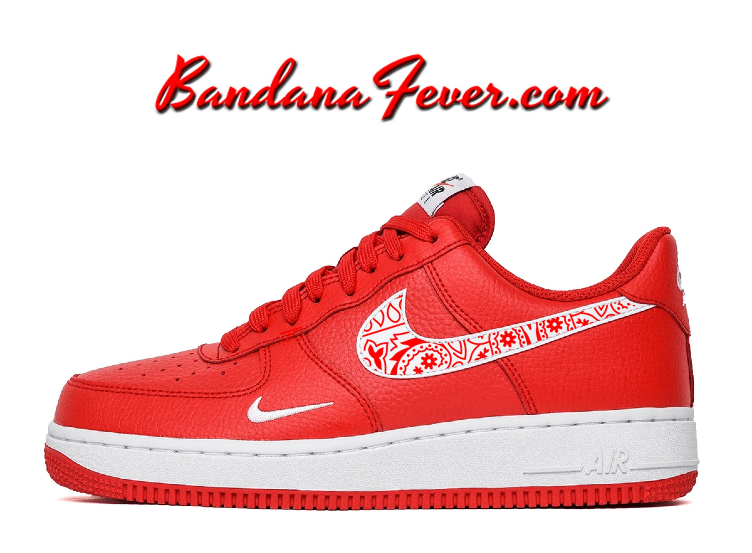 reputable site 5e073 ca66b Custom Red Bandana Nike Air Force 1 Shoes University Red Low,  paisley,   bandanna, by Bandana Fever
