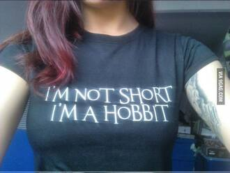 t-shirt short hobbit print black text tee red hair tattoo