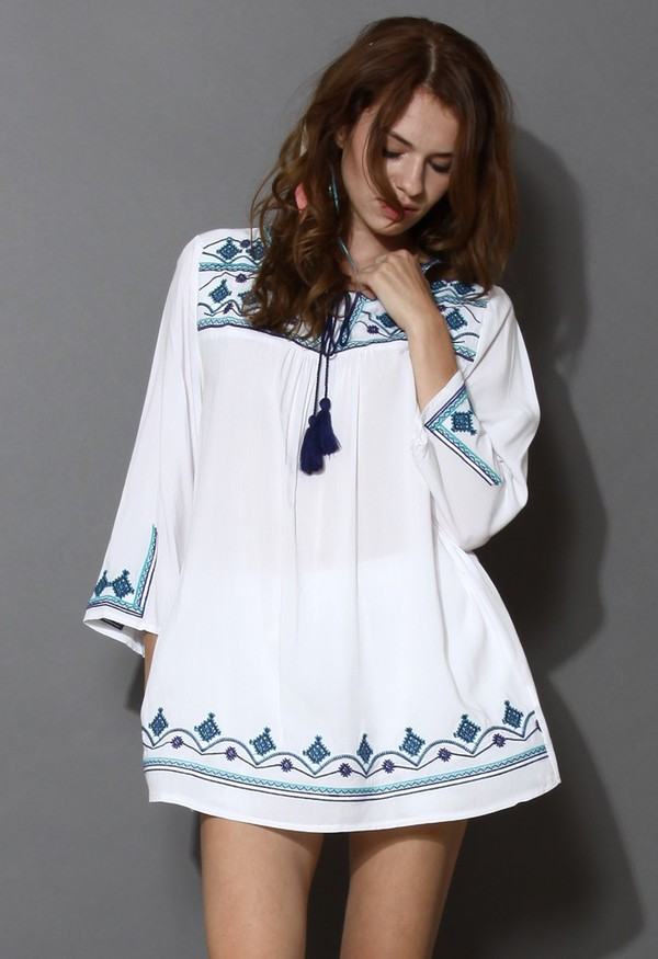top chicwish greenery embroidered