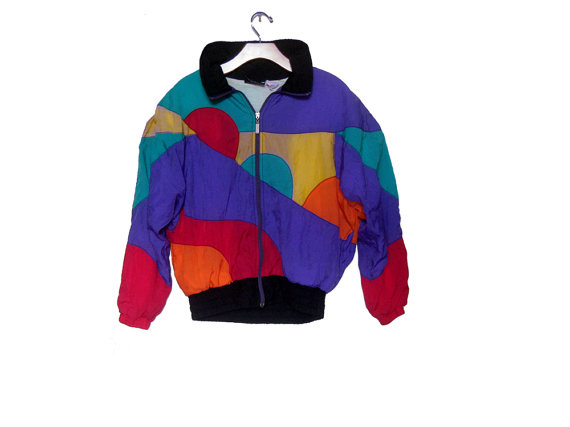 Women's Vintage 80s Windbreaker Color Block by happy2find on Etsy
