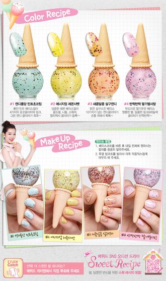 nail polish blue sparkle yellow sparkle orange sparkle pink sparkle rainbow glitter korean fashion etude house ice cream nails adorable packaging