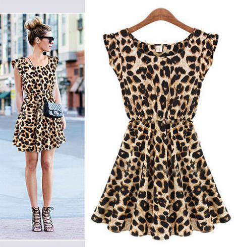 S M L XL XXL Crazy promotions Hot new summer 2014 women's round neck was thin sexy leopard print dress Plus Size-in Dresses from Apparel & Accessories on Aliexpress.com