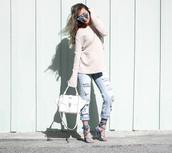 blogger,light blue jeans,mirrored sunglasses,off the shoulder sweater,beige sweater,blue heels,blue sandals,sandals,thick heel,white bag,blue jeans,ripped jeans,lace up heels,white sweater