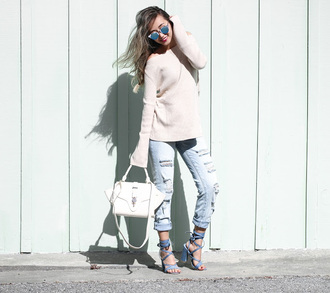 different cands blogger light blue jeans mirrored sunglasses off the shoulder sweater beige sweater blue heels blue sandals sandals thick heel white bag blue jeans ripped jeans lace up heels white sweater