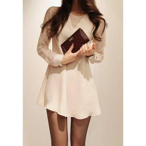 Elegant openwork beam waist flounce chiffon women's dress