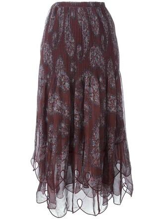skirt pleated women cotton brown paisley