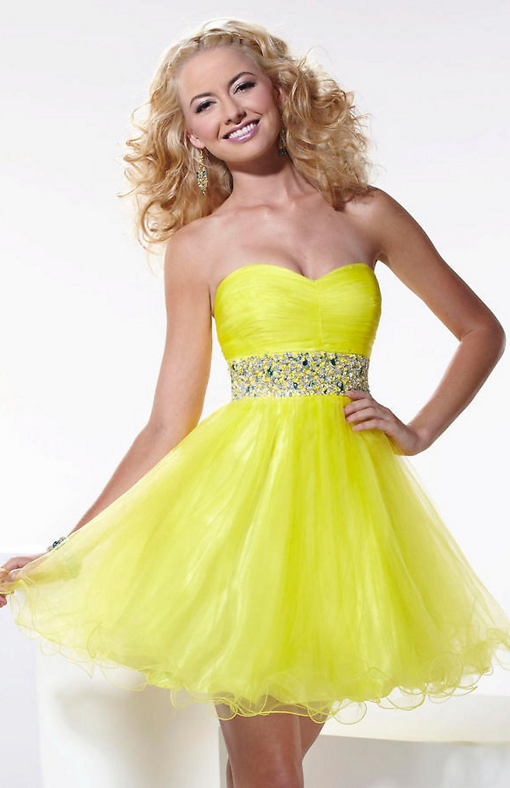 Tulle Short Length Ruffles Zipper Strapless Baby Doll Cocktail Dress - Promdresshouse.com