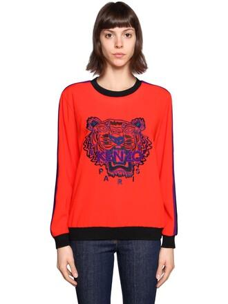 sweatshirt embroidered tiger orange sweater