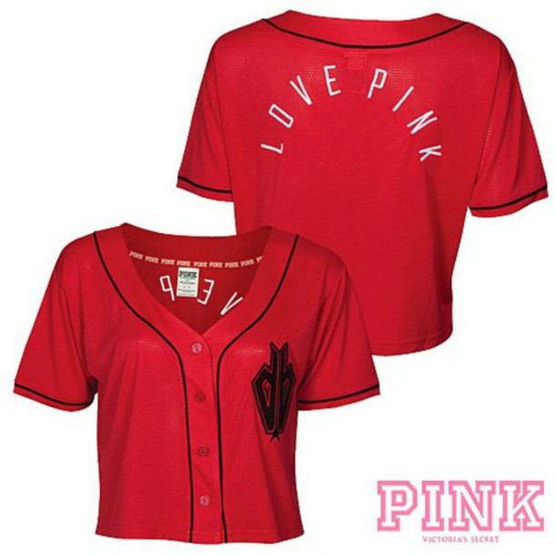 Top Shirt Red Pink Pink By Victorias Secret Jersey