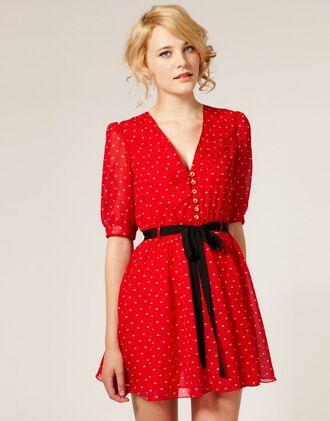 dahlia printed asos chiffon dress heart print zooey deschanel red dress