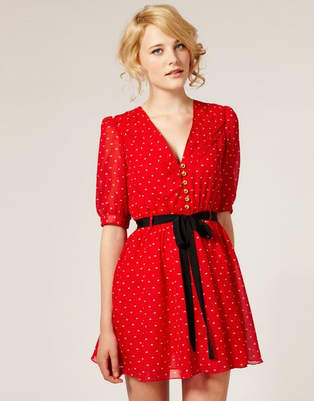 asos dahlia printed chiffon dress heart print zooey deschanel