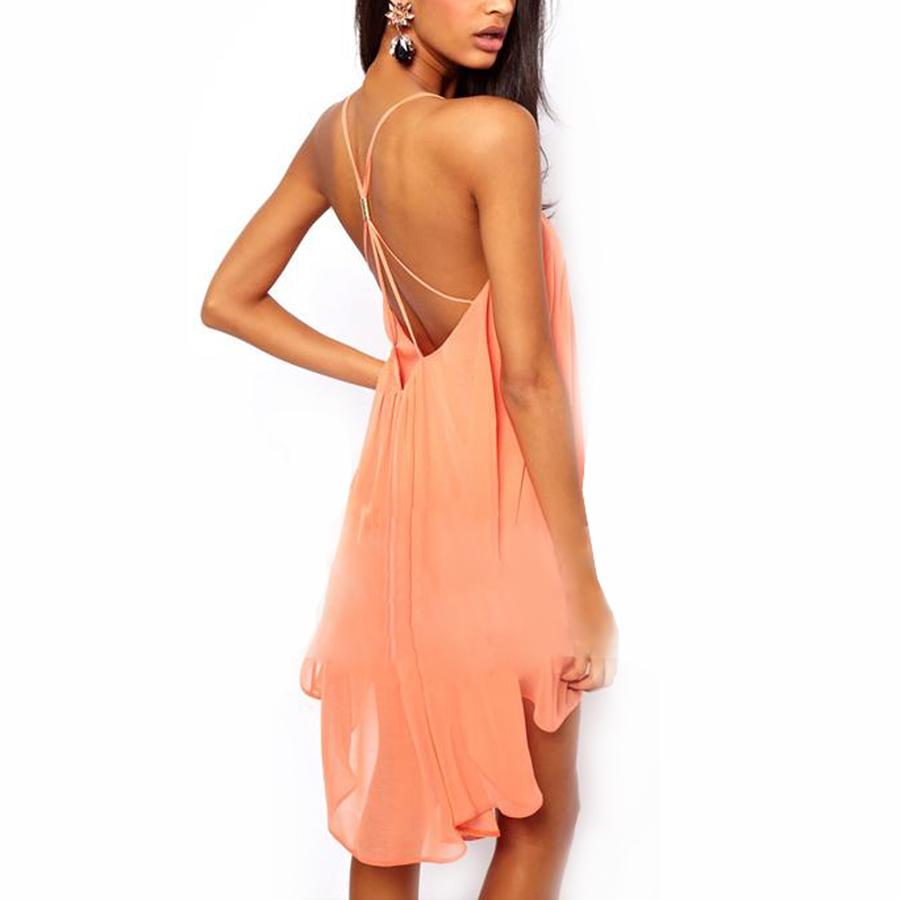 Sexy Women Chiffon Backless Sling Strap Back Mini Party Evening Dress Skirt   eBay